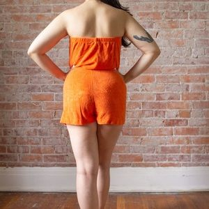 Vintage Pants - SALE 1970s VINTAGE TERRY CLOTH ORANGE ROMPER